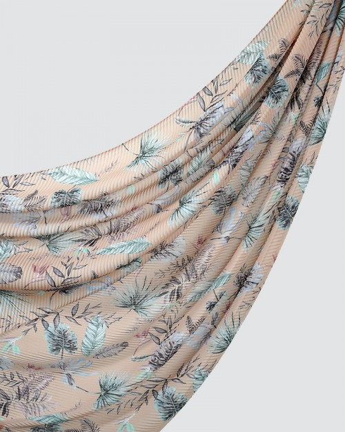 Printed Pleated - Bora - Light Peach